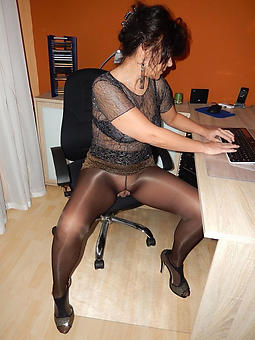 mature landowners in pantyhose stripping